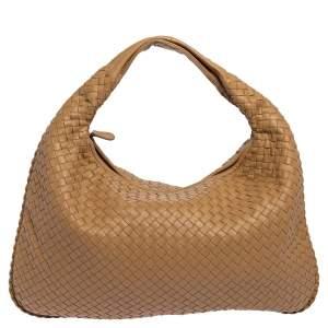Bottega Veneta Beige Intrecciato Leather Veneta Hobo