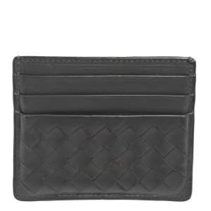 Bottega Veneta Dark Grey Intrecciato Leather Card Holder