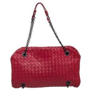 Bottega Veneta Red Intrecciato Leather Duo Shoulder Bag