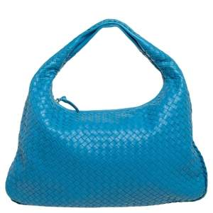 Bottega Veneta Blue Intrecciato Leather Veneta Hobo