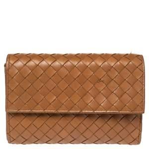 Bottega Veneta Brown Intrecciato Leather Flap Wallet