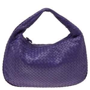 Bottega Veneta Purple Intrecciato Leather Small Veneta Hobo