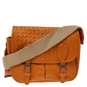 Bottega Veneta Orange Intrecciato Leather Gardena Messenger Bag