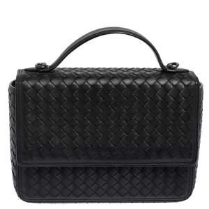 Bottega Veneta Black Intrecciato Leather Alumna Top Handle Bag