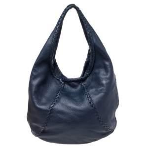 Bottega Veneta Navy Blue Intrecciato Leather Loop Hobo