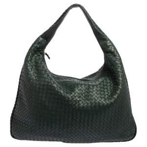 Bottega Veneta Dark Green Intrecciato Leather Maxi Veneta Hobo