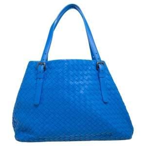 Bottega Veneta Blue Intrecciato Leather Medium Cesta Tote