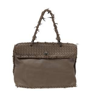 Bottega Veneta Brown Intrecciato Leather Tina Top Handle Bag