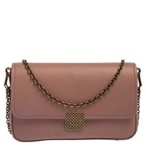 Bottega Veneta Old Rose Intrecciato Leather Flap Crossbody Bag