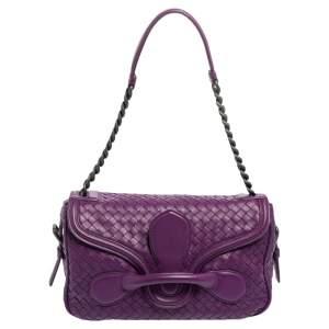 Bottega Veneta Purple Intrecciato Leather Flap Chain Bag