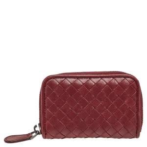 Bottega Veneta Burgundy Intrecciato Leather Wallet