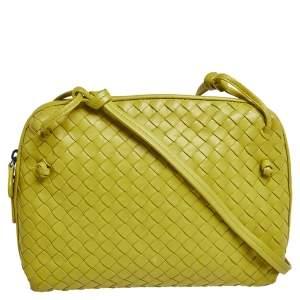 Bottega Veneta Citrus Yellow Intrecciato Leather Nodini Crossbody Bag