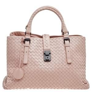 Bottega Veneta Pink Intrecciato Leather Medium Roma Tote