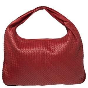 Bottega Veneta Red Intrecciato Leather Maxi Veneta Hobo