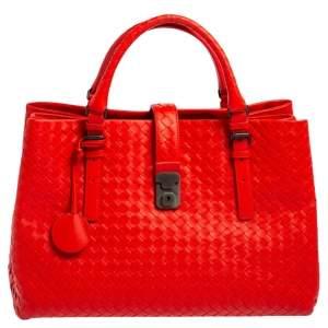 Bottega Veneta Red Intrecciato Leather Medium Roma Tote