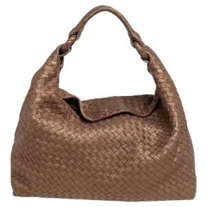 Bottega Veneta Brown/Gold Intrecciato Leather Sloane Hobo