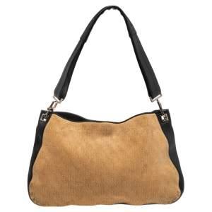 Bottega Veneta Beige/Black Leather and Signature Embossed Suede Shoulder Bag