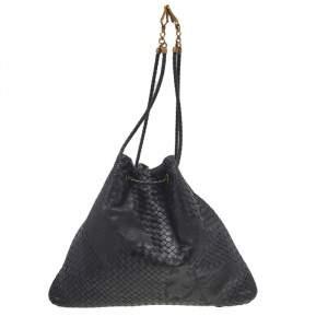 Bottega Veneta Black Intrecciato Leather Farfalle Drawstring Shoulder Bag