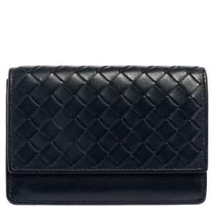 Bottega Veneta Navy Blue Intrecciato Leather Business Card Holder