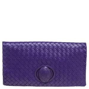 Bottega Veneta Purple Intrecciato Leather Turnlock Clutch