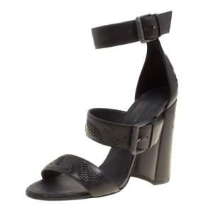 Bottega Veneta Black Leather Embroidery Stitch Detail Block Heel Ankle Strap Sandals Size 37.5