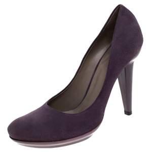 حذاء كعب عالي بوتيغا فينيتا نعل سميك سويدي بنفسجي مقاس 38.5