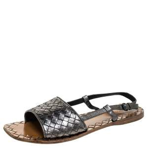 Bottega Veneta Metallic Intreciatto Leather Calvados Slingback Sandals Size 38