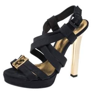 Bottega Veneta Black Fabric And Gold Intrecciato Trim Criss Cross Platform Sandals Size 38