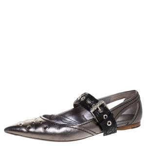 Bottega Veneta Metallic Silver Leather Eyelet Embellished Mary Jane Ballerina Flats Size 39
