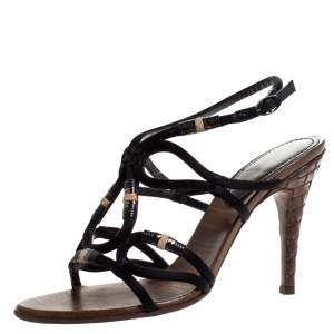 Bottega Veneta Black Satin And Leather Intrecciato Heel Sandals Size 38.5
