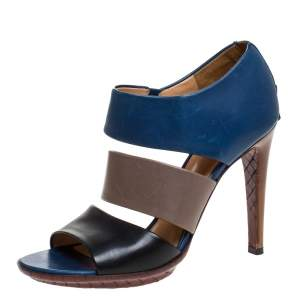 Bottega Veneta Tricolor Leather Open Toe Cut Out Booties Size 39.5
