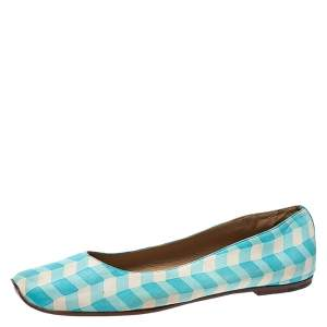 Bottega Veneta Blue/White Printed Leather Ballet Flats Size 41