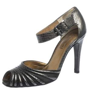 Bottega Veneta Grey Python Embossed Leather And Satin Ankle Strap Peep Toe Ankle Cuff Sandals Size 37.5