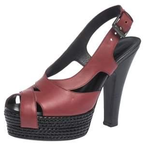 Bottega Veneta Burgundy Leather Peep Toe Platform Slingback Sandals Size 37