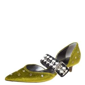 Bottega Veneta Green Velvet And Intrecciato Leather Dahlia Chenille D'orsay Pumps Size 35