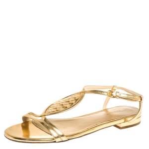 Bottega Veneta Metallic Gold Intrecciato Leather Ankle Strap Flat Sandals Size 39.5