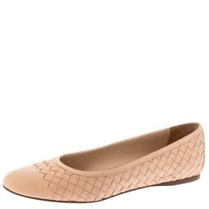 Bottega Veneta Light Pink Intrecciato Leather Ballet Flats Size 39.5