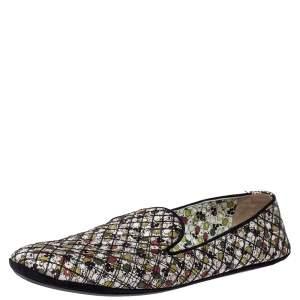 Bottega Veneta Floral Print Fabric Smoking Slippers Size 39