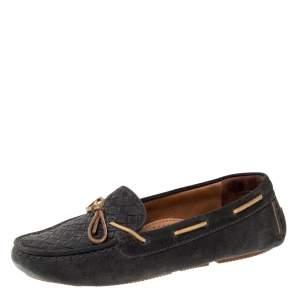 Bottega Veneta Dark Grey Intrecciato Suede Bow Loafers Size 38.5
