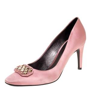 Bottega Veneta Pink Satin Embellished Pumps Size 38