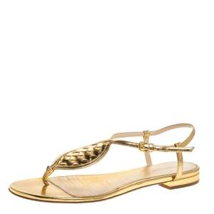 Bottega Veneta Metallic Gold Intrecciato Leather Ankle Strap Flat Sandals Size 39