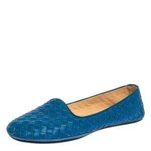Bottega Veneta Blue Intrecciato Leather Ballet Flats Size 38.5