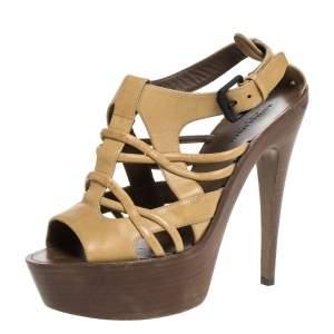 Bottega Veneta Cream Leather Wooden Platform And Heel Sandals Size 39