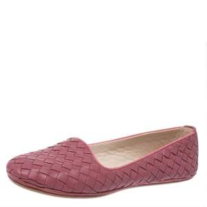Bottega Veneta Dark Pink Intrecciato Leather Smoking Slippers Size 36