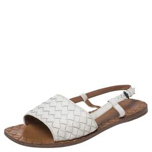 Bottega Veneta White Intrecciato Leather Calvados Slingback Flat Sandals Size 36