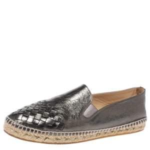 Bottega Veneta Metallic Grey Intrecciato Leather Espadrille Flats Size 38