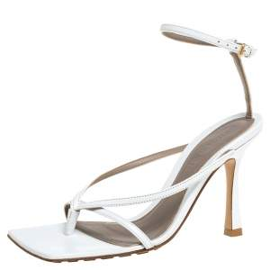 Bottega Veneta White Leather Stretch Ankle Strap Sandals Size 35