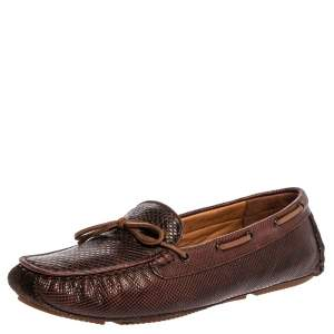 Bottega Veneta Brown Karung Leather Bow Slip On Loafers Size 38