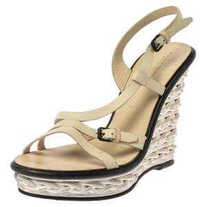 Bottega Veneta Cream Leather Wedge Platform Ankle Strap Sandals Size 40