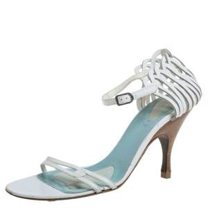 Bottega Veneta White Leather Strappy Ankle Strap Sandals Size 39